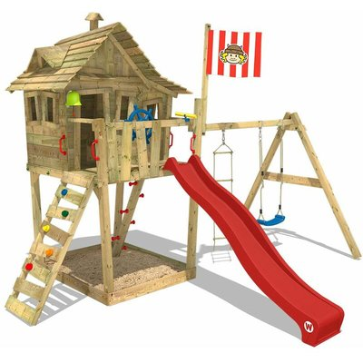 Climbing frame Monkey Island with swing, slide and sandpit - Wickey