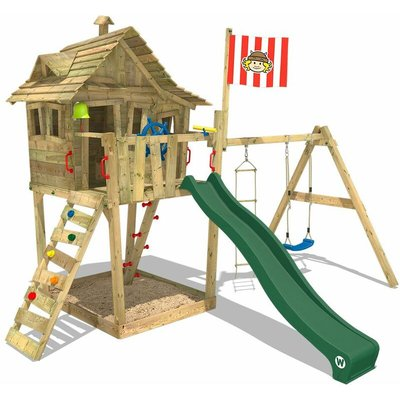 WICKEY Climbing frame Monkey Island with swing, slide and sandpit