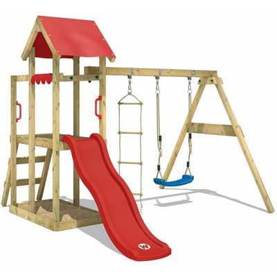 Wooden climbing frame TinyPlace with swing set and red slide, Garden playhouse with sandpit, climbing ladder & play-accessories - Wickey