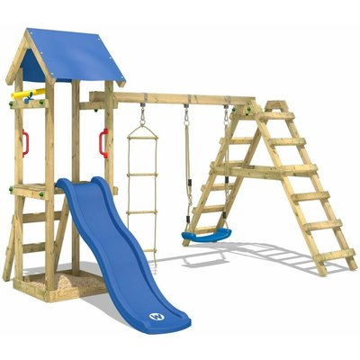 Wooden climbing frame TinyLoft with swing set and blue slide, Garden playhouse with sandpit, climbing wall & play-accessories - Wickey