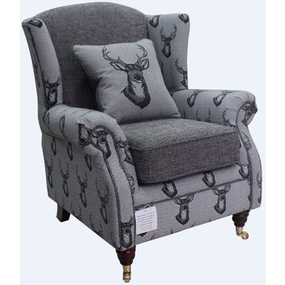 Wing Chair Fireside High Back Armchair Antler Stag Charcoal Grey - DESIGNER SOFAS 4 U