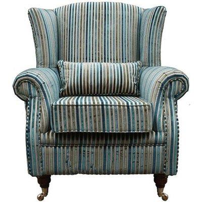 Designer Sofas 4 U - Wing Chair Fireside High Back Armchair Aqua Stripe