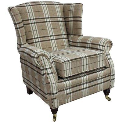 Wing Chair Fireside High Back Armchair Balmoral Check Fabric - DESIGNER SOFAS 4 U