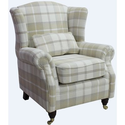 Wing Chair Fireside High Back Armchair Balmoral Natural Check Fabric P&S - DESIGNER SOFAS 4 U