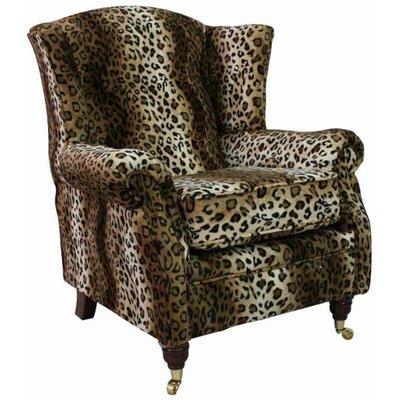 Wing Chair Fireside High Back Armchair Brown Leopard - DESIGNER SOFAS 4 U