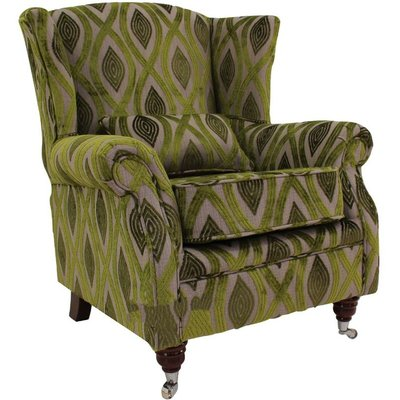 Wing Chair Fireside High Back Armchair Cavalli Guava Green Velvet - DESIGNER SOFAS 4 U