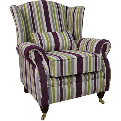 Wing Chair Fireside High Back Armchair Justin Stripe Lilac - DESIGNER SOFAS 4 U