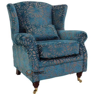 Wing Chair Fireside High Back Armchair Lalique Vellum Blue Velvet - DESIGNER SOFAS 4 U
