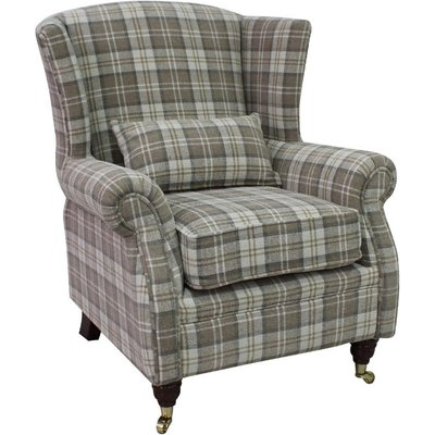 Wing Chair Fireside High Back Armchair Lana Beige Check Fabric - DESIGNER SOFAS 4 U