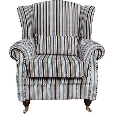 Wing Chair Fireside High Back Armchair Riga Stripe Natural - DESIGNER SOFAS 4 U