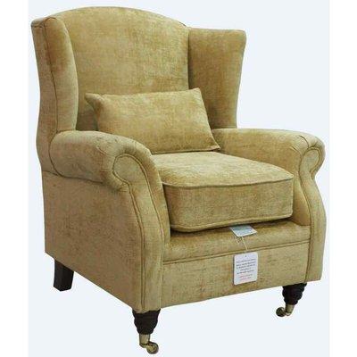 Wing Chair Fireside High Back Armchair Velluto Gold Fabric - DESIGNER SOFAS 4 U