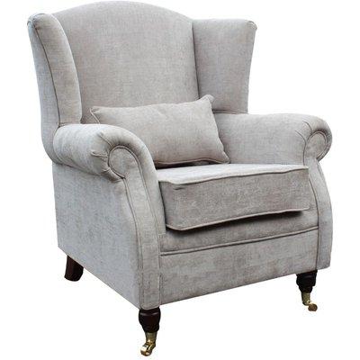 Designer Sofas 4 U - Wing Chair Fireside High Back Armchair Velluto Hessian Mink Fabric