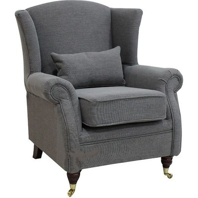 Designer Sofas 4 U - Wing Chair Fireside High Back Armchair Verity Steel Grey