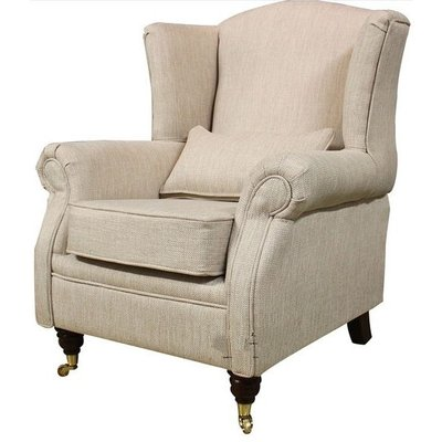 Designer Sofas 4 U - Wing Chair Fireside High Back Armchair Zoe Plain Biscuit