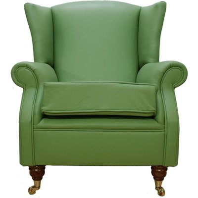 Designer Sofas 4 U - Wing Chair Fireside High Back Leather Armchair Apple Green Leather