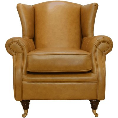 Designer Sofas 4 U - Wing Chair Fireside High Back Leather Armchair Caramel Leather