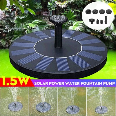 [With 8 nozzles] Automatic solar fountain pump 1.5W Energy saving plants Watering kit Water fountain Floating pump for bird bath, aquarium, pond and