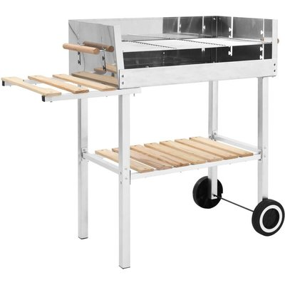 Zqyrlar - XXL Trolley Charcoal BBQ Grill Stainless Steel with 2 Shelves - Silver