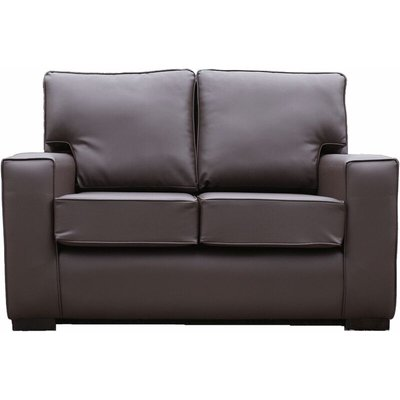 Designer Sofas 4 U - York 2 Seater Contemporary Faux Leather Sofa Brown