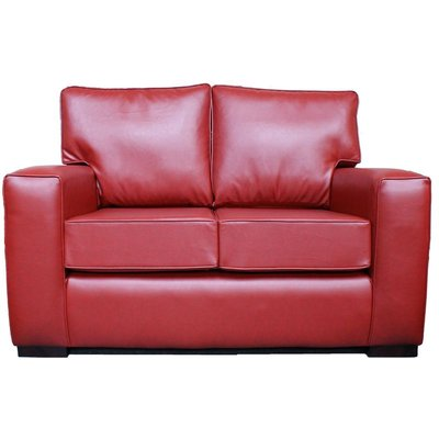 Designer Sofas 4 U - York 2 Seater Contemporary Faux Leather Sofa Red