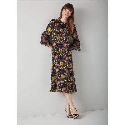 Agnes Floral Print Black Silk Midi Dress, Multi