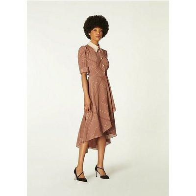 Arabella Tobacco Handkerchief Print Silk Dress, Tobacco