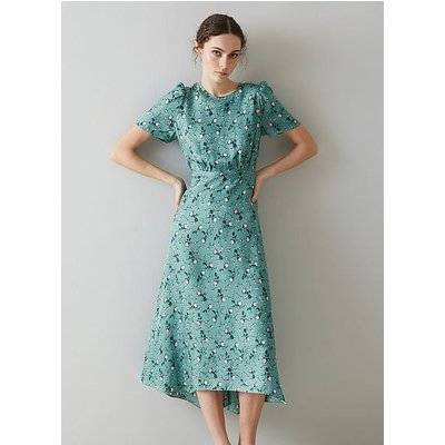 Boyd Teal Silk Jacquard Scattered Rose Print Dress, Teal