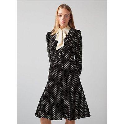 Moore Black and White Polka Dot Silk Dress, Black White