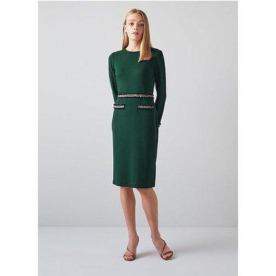 Vinnie Green Jersey Tweed Trim Shift Dress, Forest