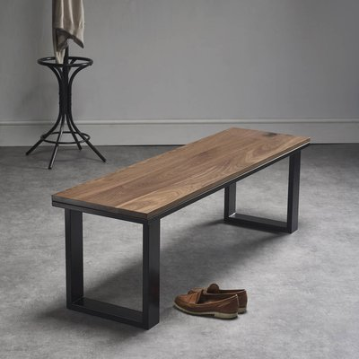 Solid Walnut Bench With Steel Legs