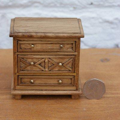 Jacobean Style Dolls House Miniature Oak Chest