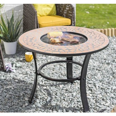 Mosaic Tiled Firepit With Grill And Table Insert