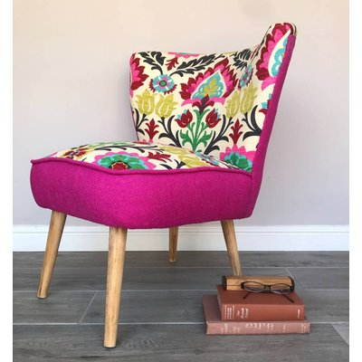 Cocktail Chair In Vibrant Fabric With Pink Harris Tweed, Pink