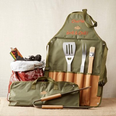 Personalised Barbeque Apron And Tool Set
