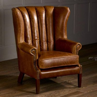 Vintage Italian Leather Fluted Wing Armchair, Brown/Grey/Black