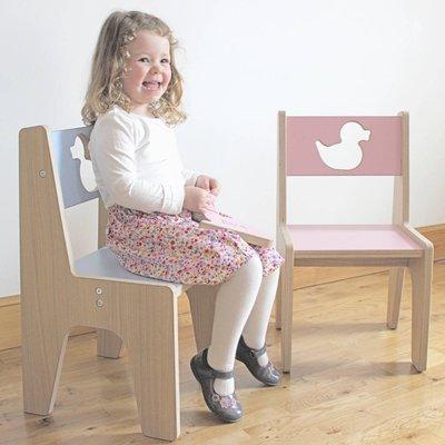 Personalised Wooden Children's Chair, Pastel Pink/Pink/Pastel Purple