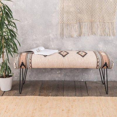 Hand Woven Wooden Bench