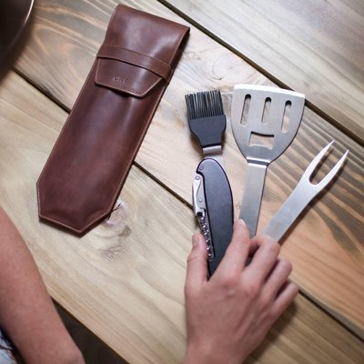 Bbq Multi Tool With Personalised Leather Sleeve, Tan