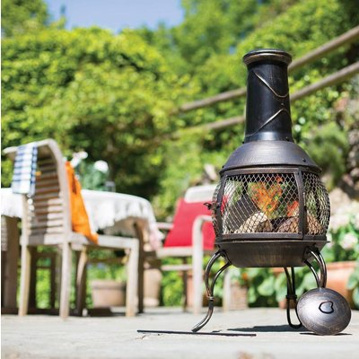 Steel Chiminea With Mesh Surround