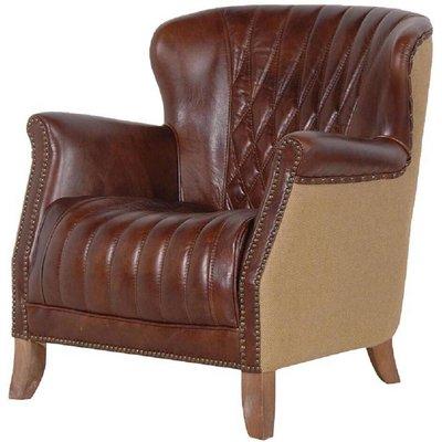 Diamond Back Brown Leather Armchair