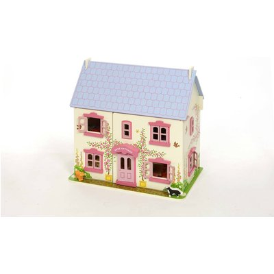 Rose Doll's House With Furniture And Dolls