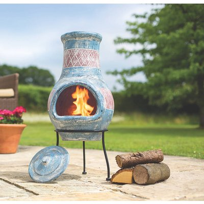 Blue With Red Detail Clay Chiminea