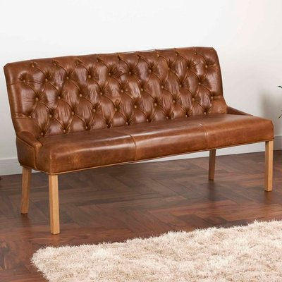 Vintage Leather Or Harris Tweed Buttoned Sofa Bench, Brown/Black/Grey