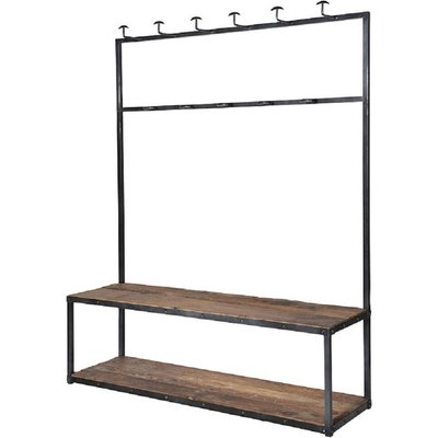 Industrial Metal And Wood Hall Bench And Coat Rack