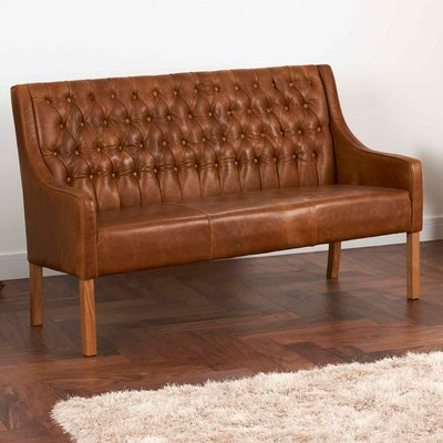 Leather Curved Arm Buttoned Sofa Bench Choice Of Sizes, Brown/Grey/Black