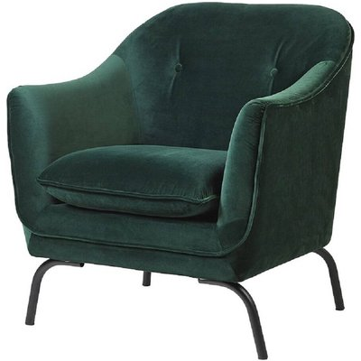 Emerald Green Button Back Velvet Armchair