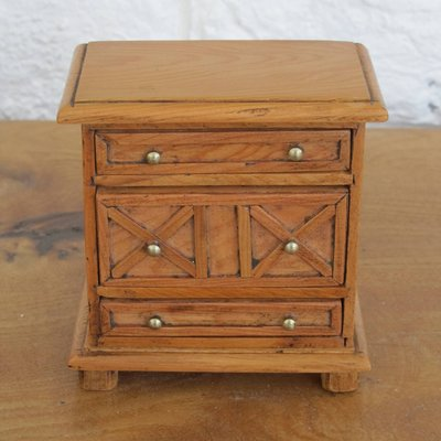 Jacobean Style Dolls House Mini Yew Chest With Inlay
