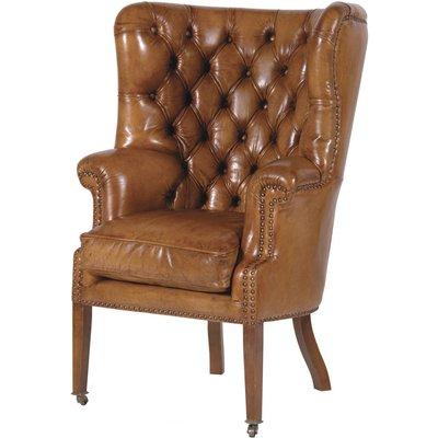 Italian Leather Button Armchair