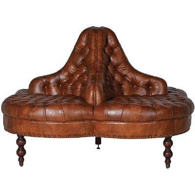 Leather Buttoned Conversation Sofa