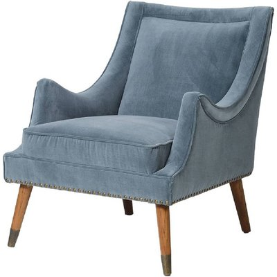 Blue Velvet Curved Armchair